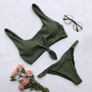 Other - Green Tie Up Knot Tankini Set